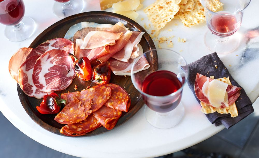 Wine and charcuterie in an outdoor bistro