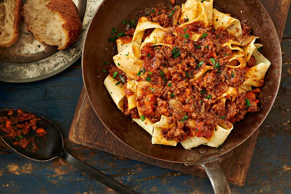 Pasta pappardelle with meat sauce
