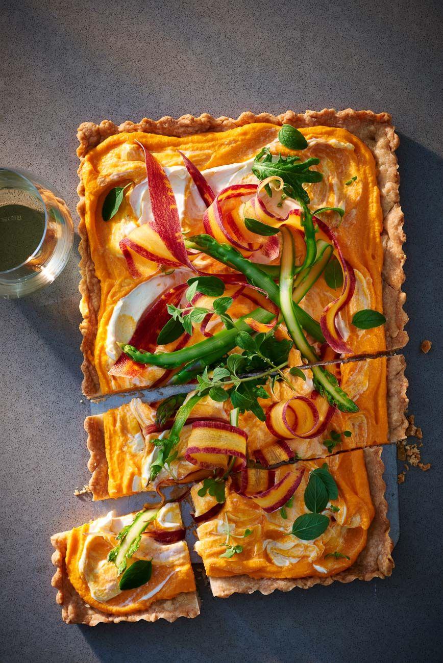 Spring vegetable cheese tart