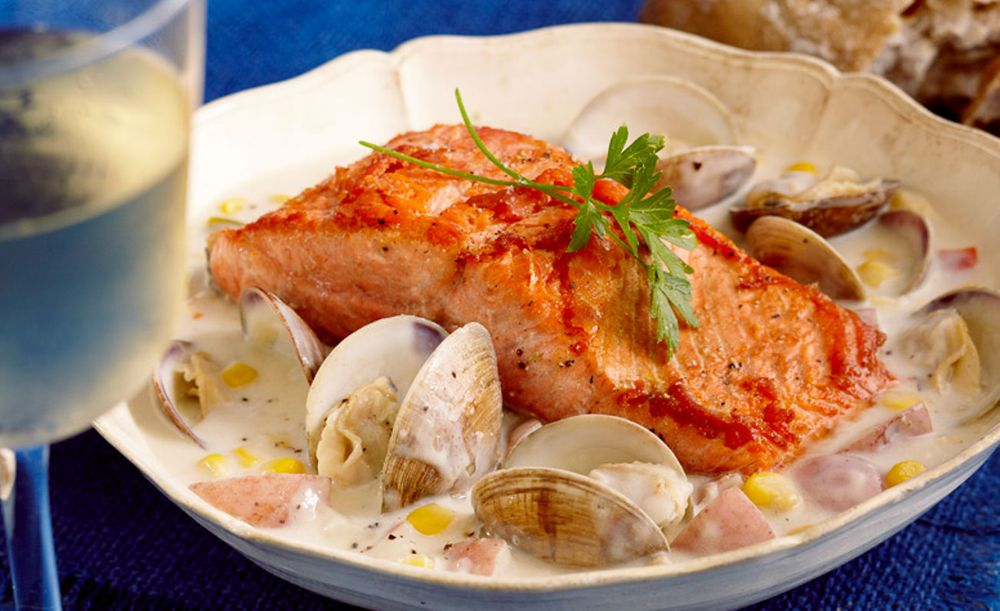 Salmon and clams