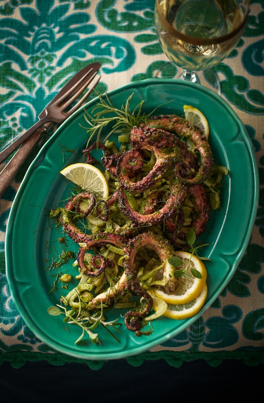 Grilled octopus with lemon and herbs