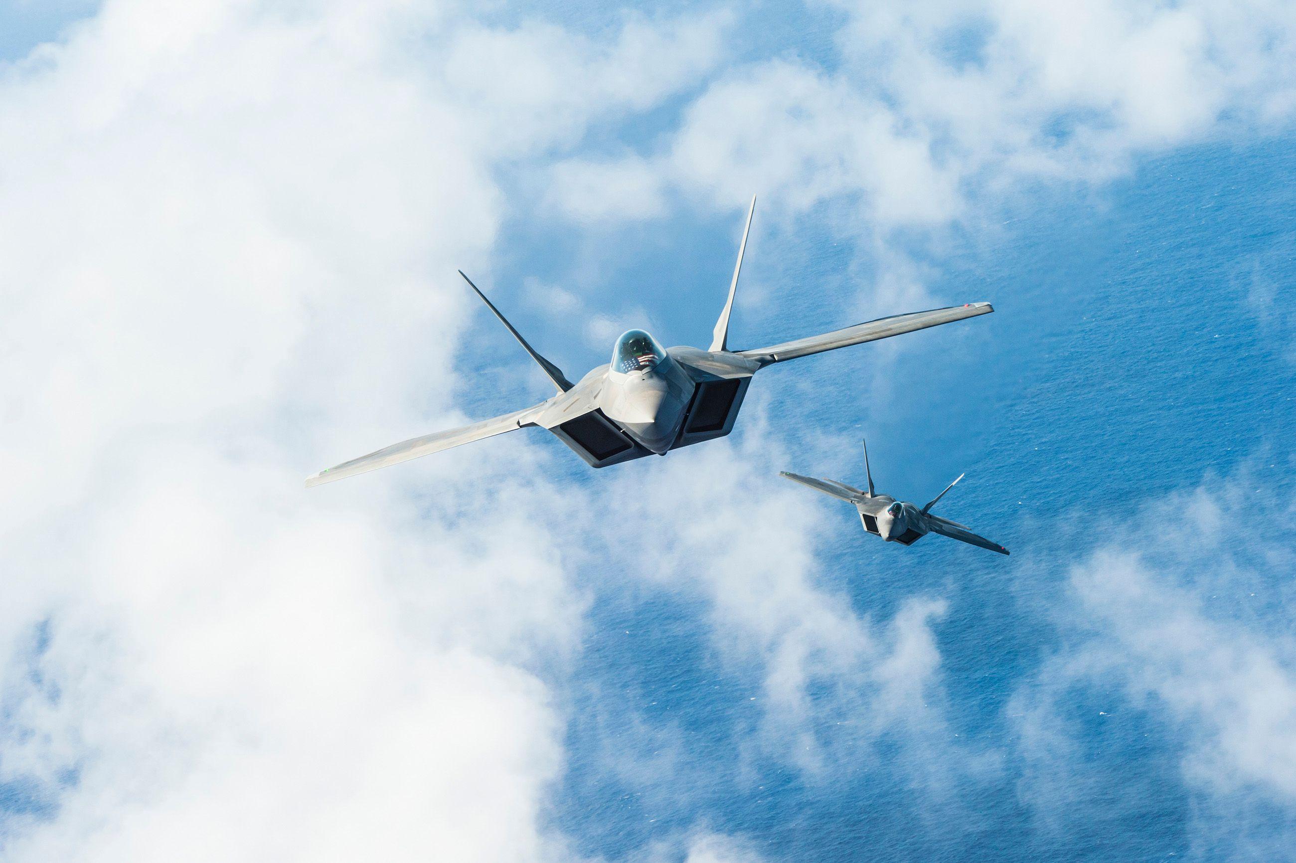 F-22 in flight
