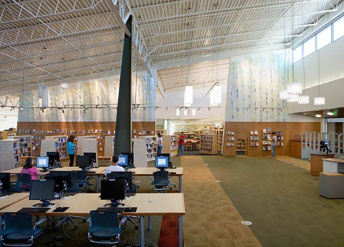 Castro Valley Library, Castro Valley,CANoll & Tam ArchitectsLeaf-scape, 2009 by Andre Caradec and Robert Fukuda.