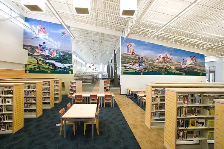 Childrens Room, Castro Valley Library, Castro Valley,CAThe Free-Form Flight of Lifelong Learning, 2009 by Jos SancesCommisioned by the Alameda County Arts CommissionNoll & Tam Architects