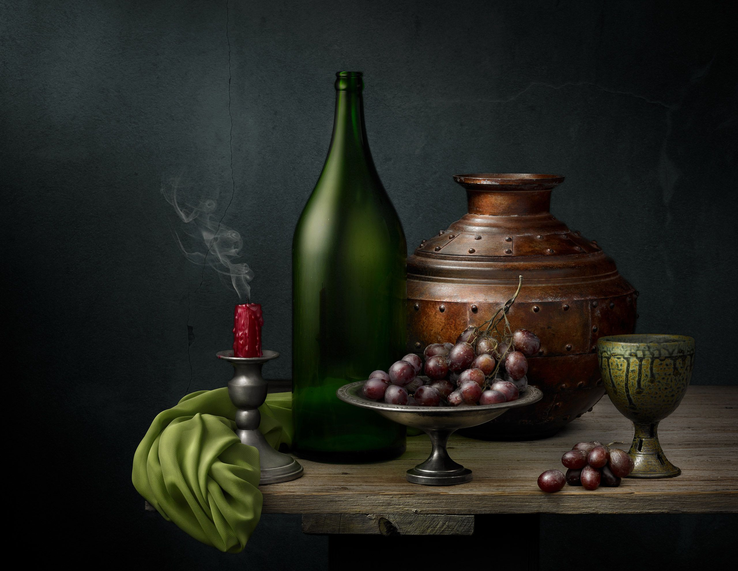 Grapes with Copper Vessel by Harold Ross