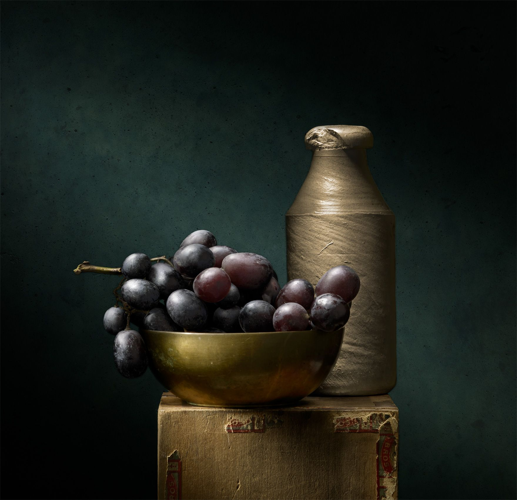 Grapes with Bottle by Harold Ross