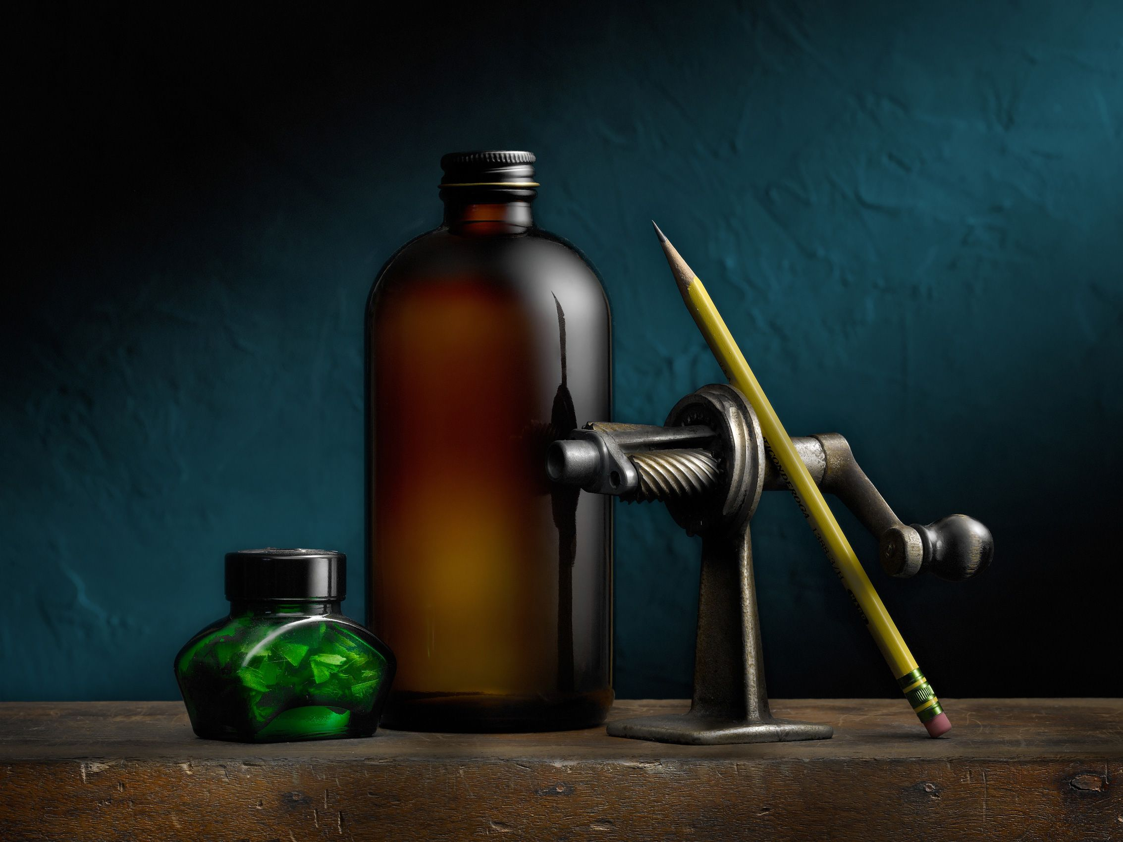 Pencil Sharpener with Brown Bottle by Harold Ross
