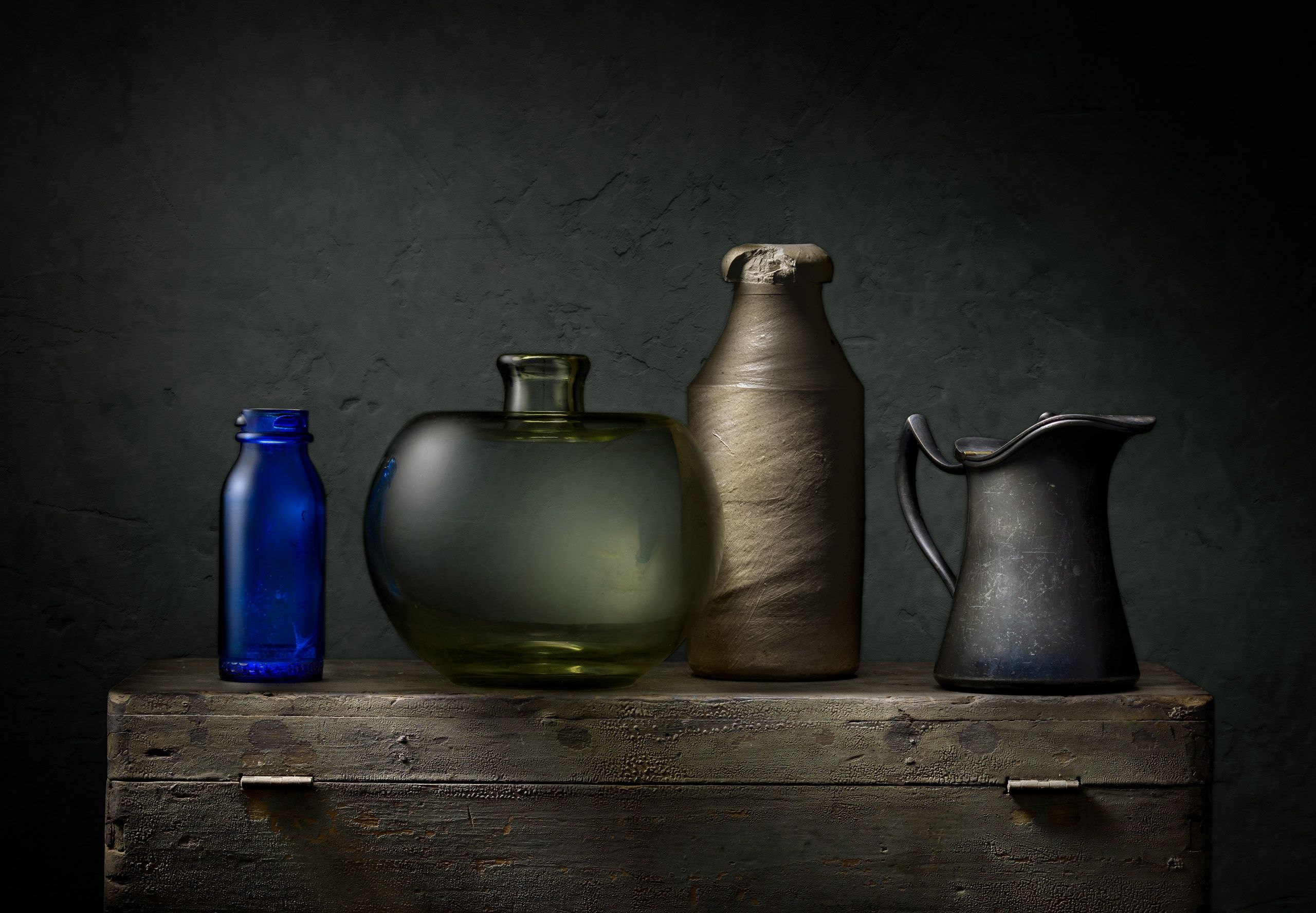 Bottles with Pewter and Crock by Harold Ross
