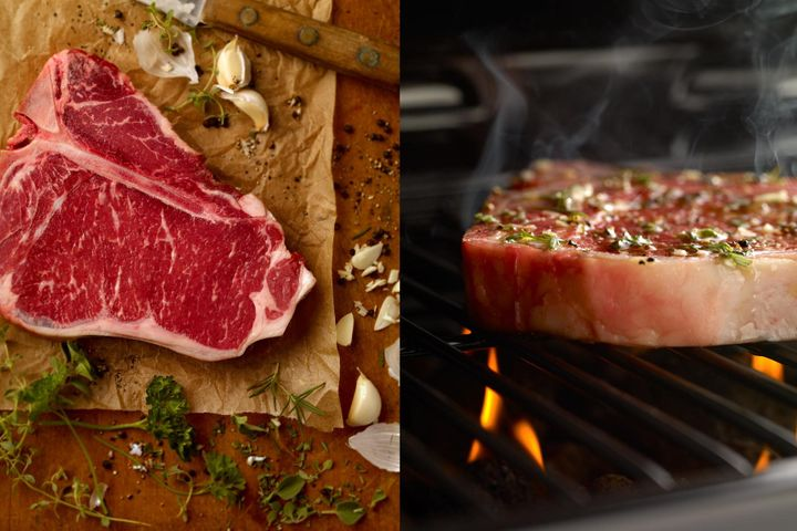 raw and cooking steak