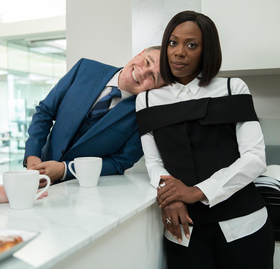 Yvonne Orji + Spencer Garrett on the set of Insecure