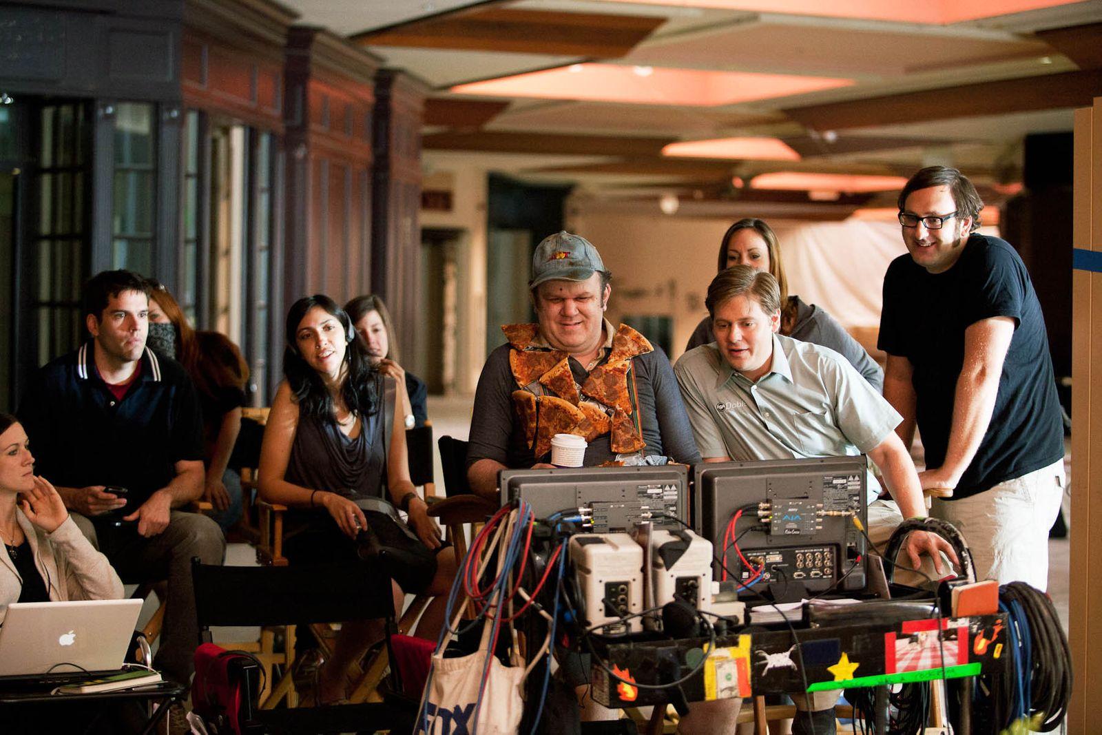 John C. Reilly Tim Heidecker Eric Wareheim watching playback on the set of Tim + Eric's Billion Dollar Movie