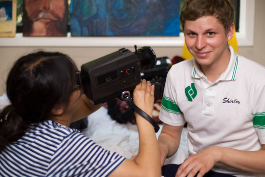 Michael Cera + Charlyne Yi on the set of Paper Heart