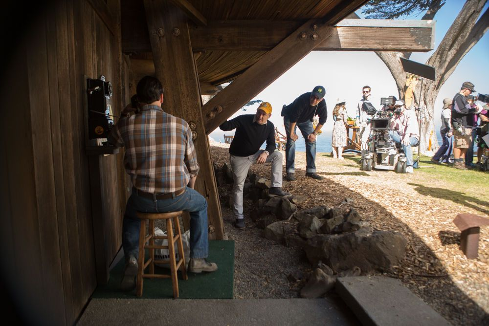 Jon Hamm + Matthew Weiner on the set of Mad Men in Big Sur