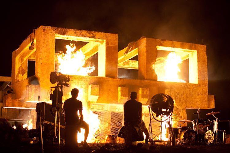 testing fire on set