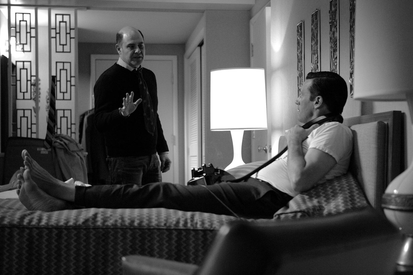 Jon Hamm + Matthew Weiner on the set of Mad Men