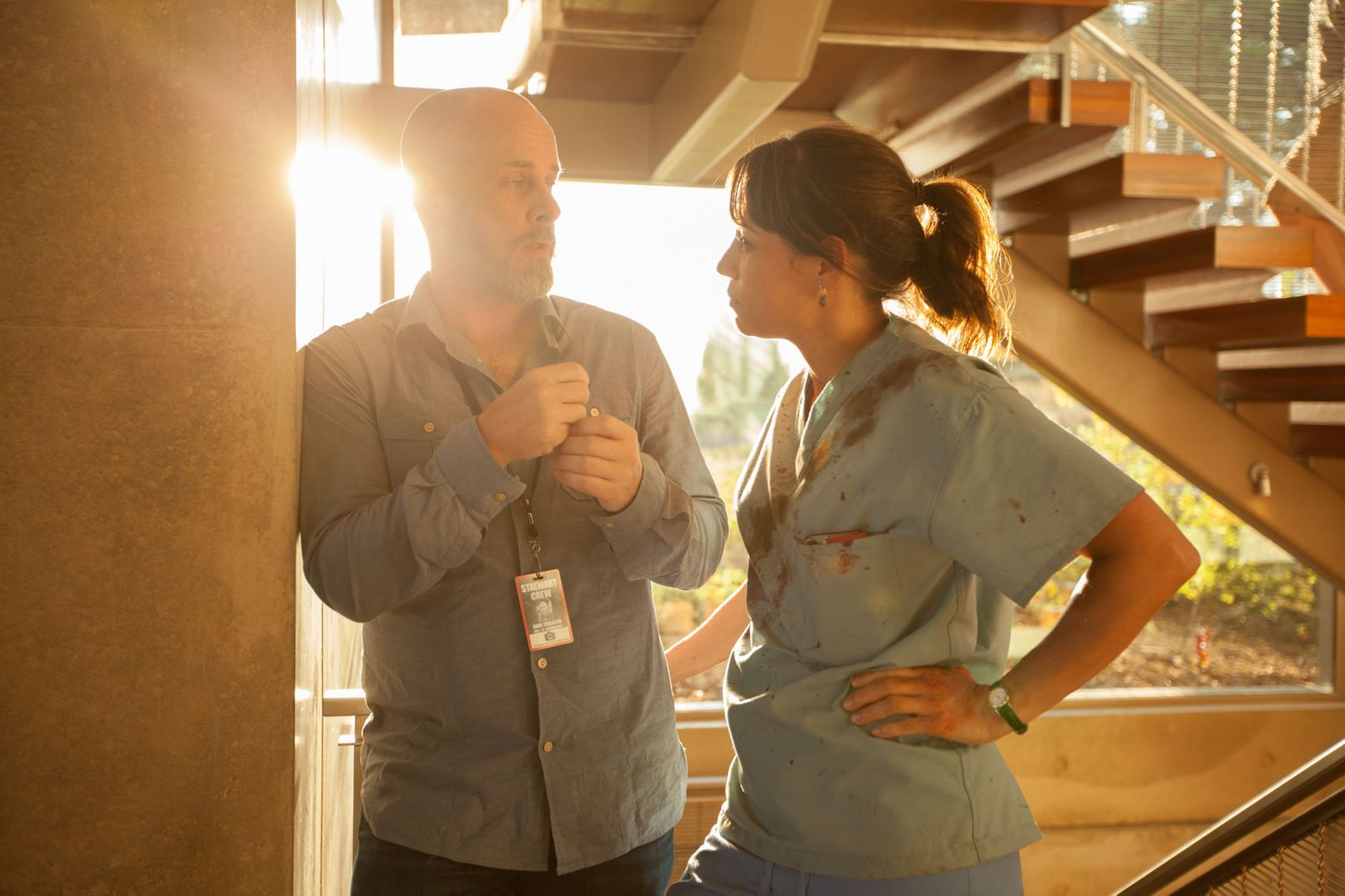 Dave Erickson + Elizabeth Rodriguez on the set of Fear The Walking Dead