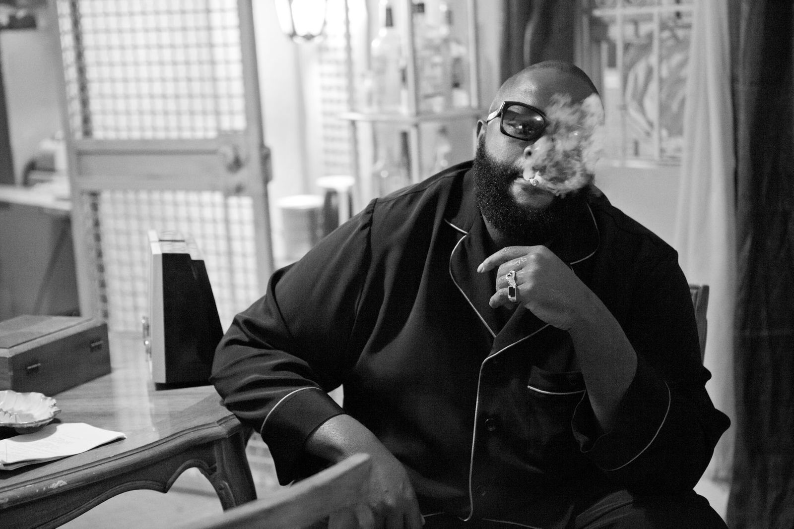 Rick Ross on the set of Magic City