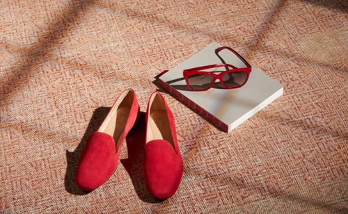 Coleen red shoes book & glasses D. Bradley.JPG