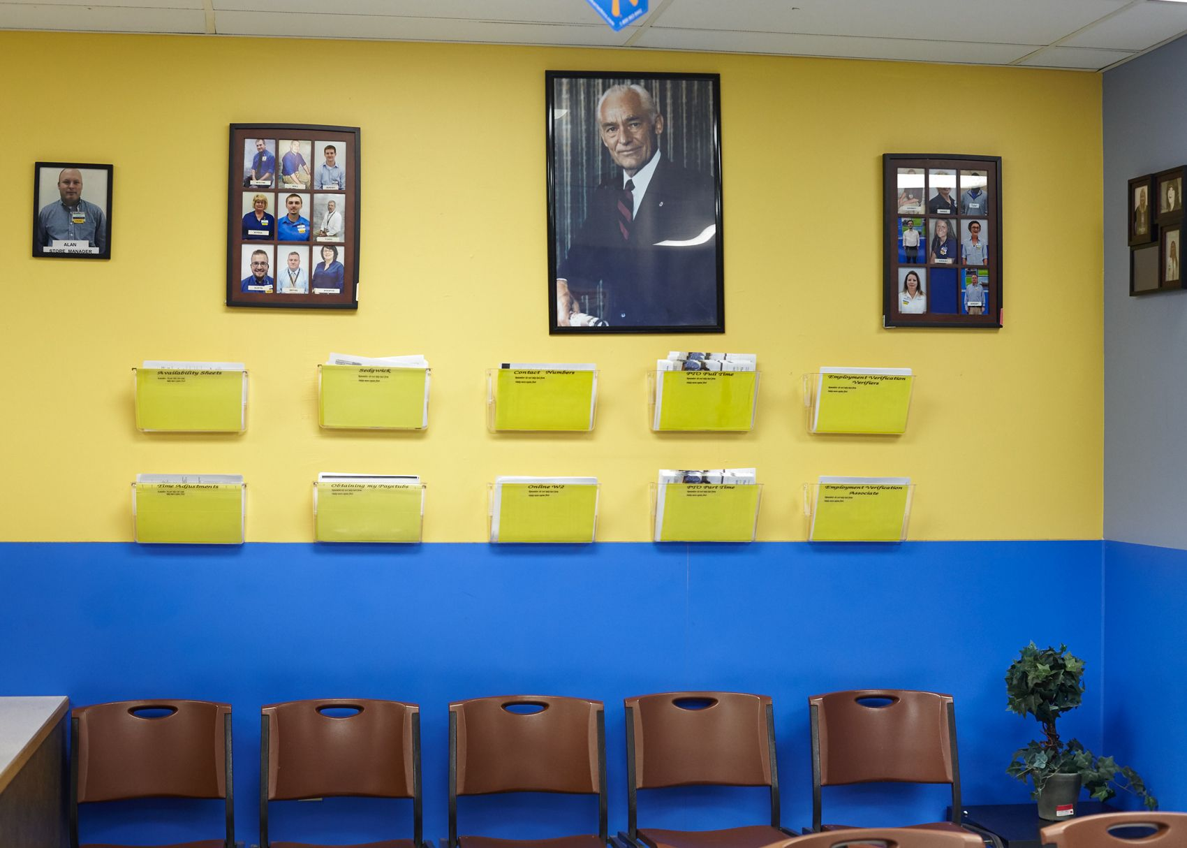 Manager's Office Featuring Portraits of Sam Walton and Store Employees, Williamsburg Kentucky