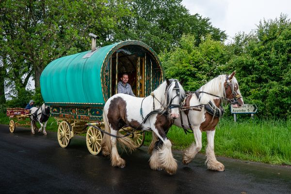 Bow Top Wagon Headed For Appleby