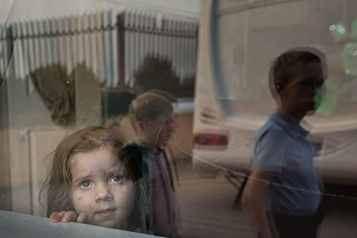 Irish Traveller Toddler In A Caravan Window