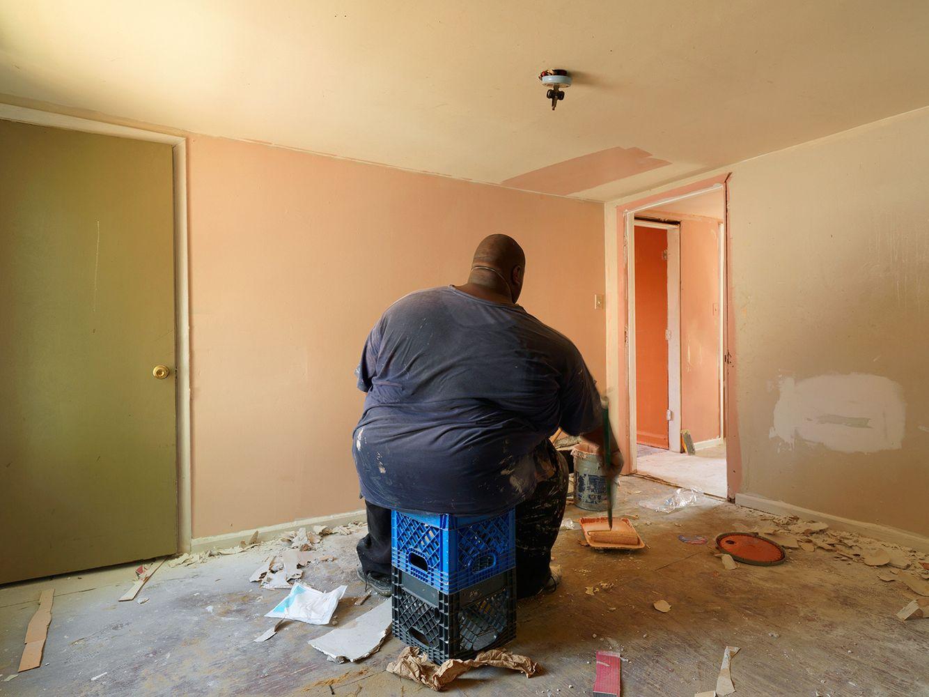 Freddy Fixing Up Nina's House, Eastside, Detroit 2015