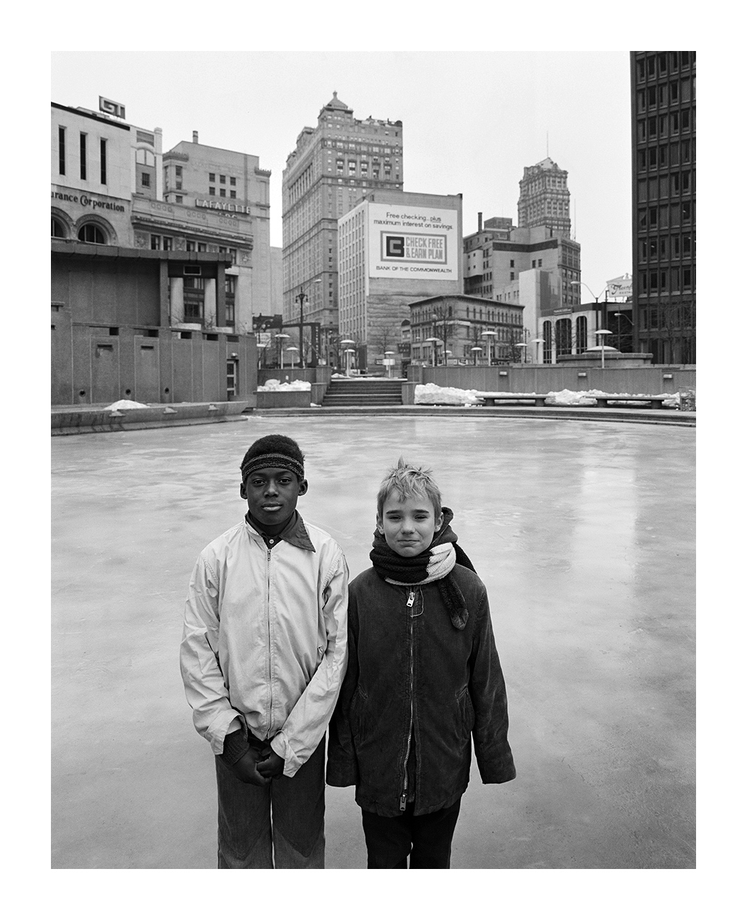 Two Boys in Kennedy Square, Detroit, 16 Feb. 1974