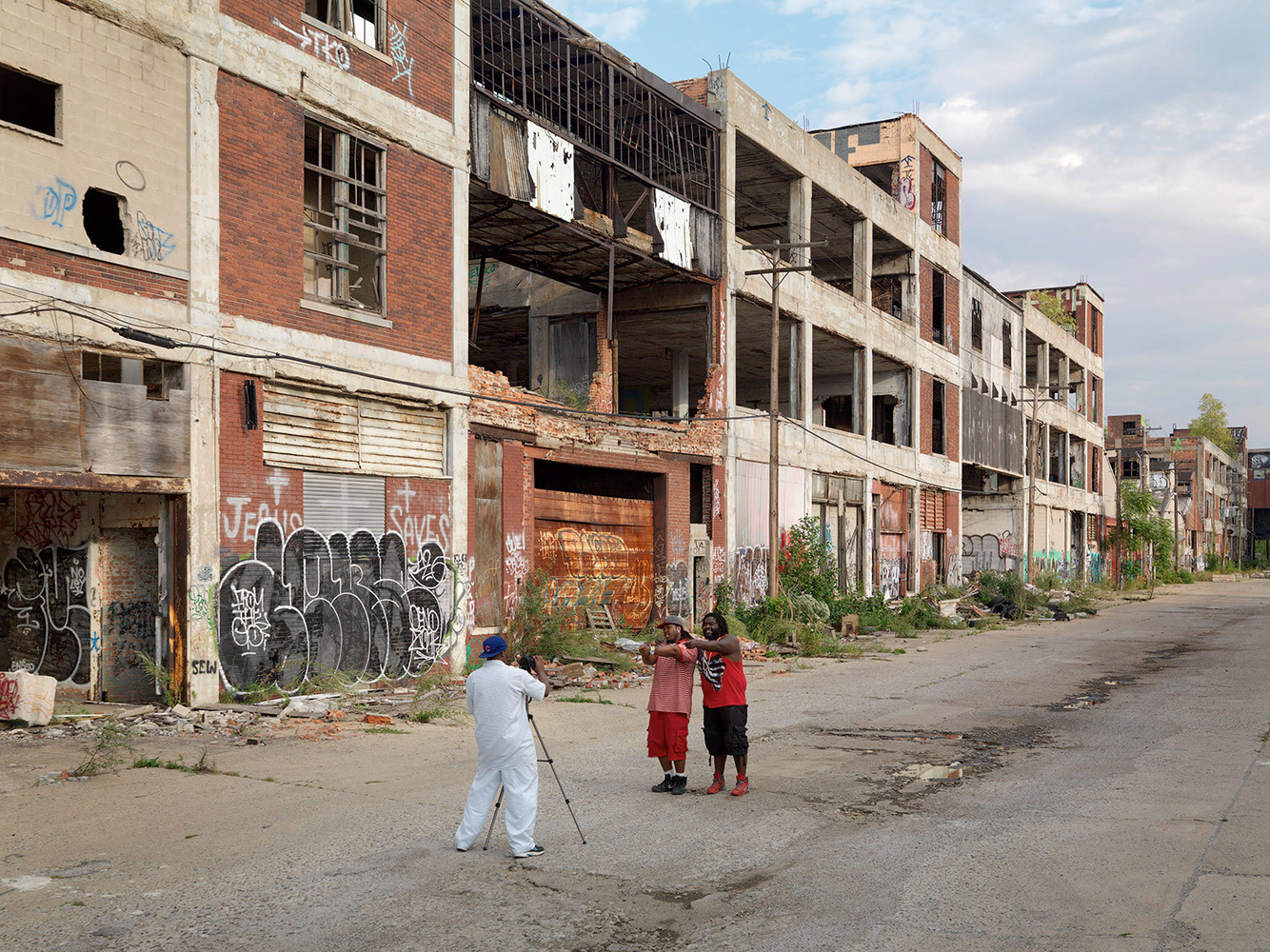 Two Rappers Making a Youtube Music Video and using the abandoned Packard Automotive Plant as a backdrop, Detroit 2014