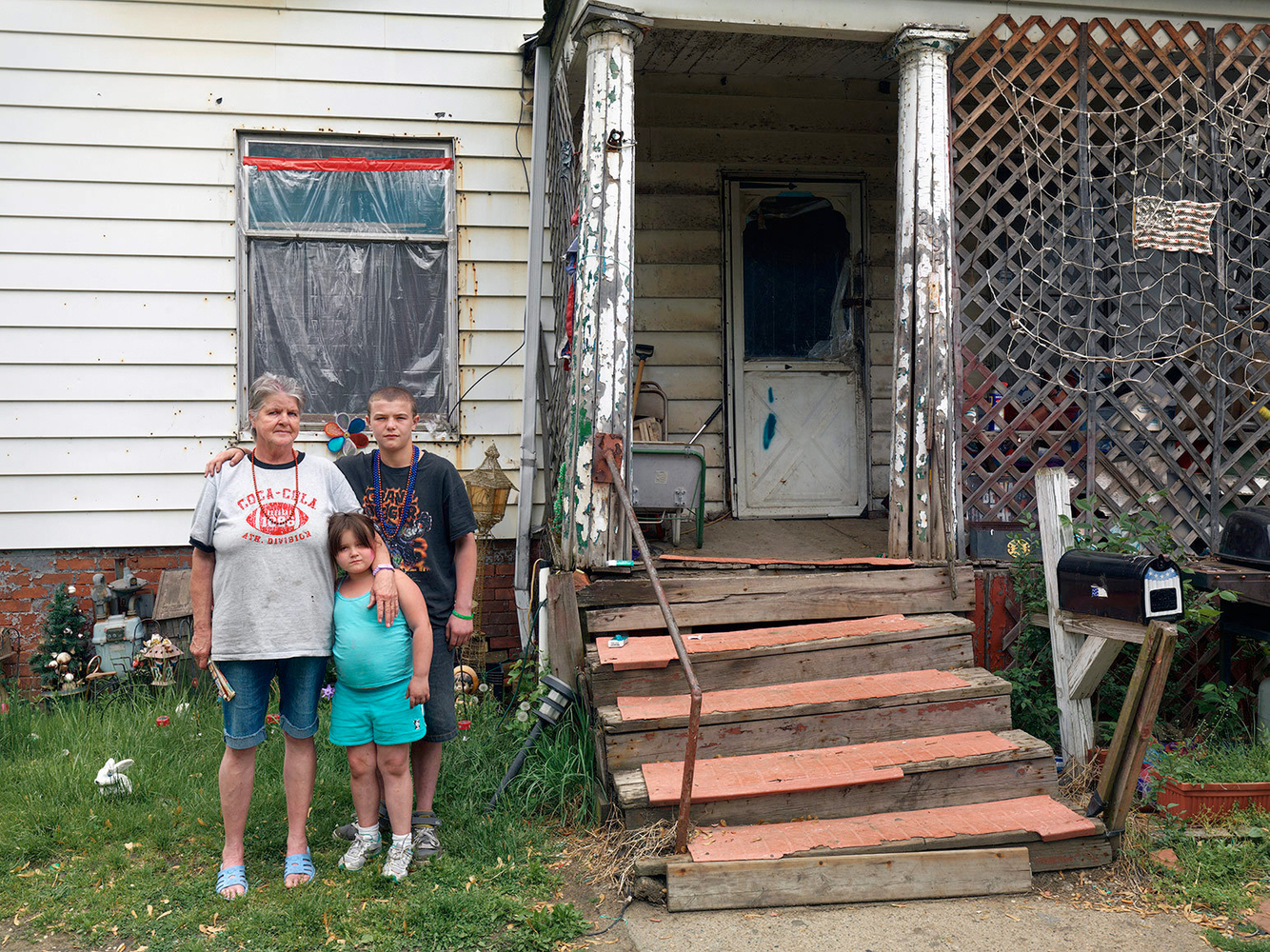 Bernadette with her grandchildren, Ferdinand Street, Mexicantown, Detroit 2012