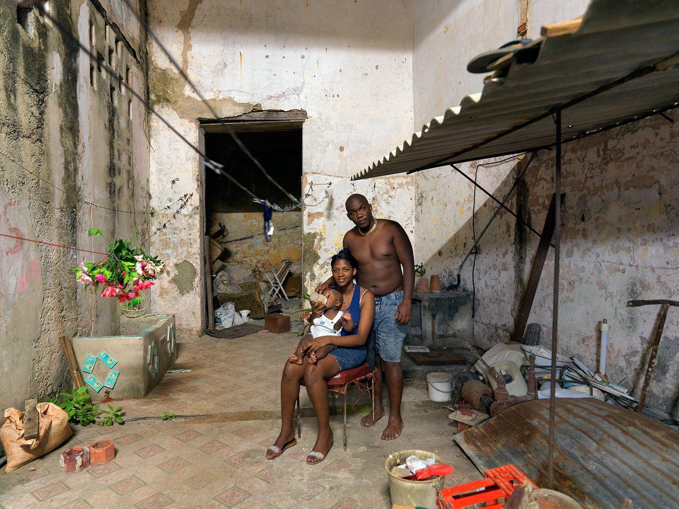 A Family in Their Backyard, Campanario Street, Centro Havana, Cuba 2016