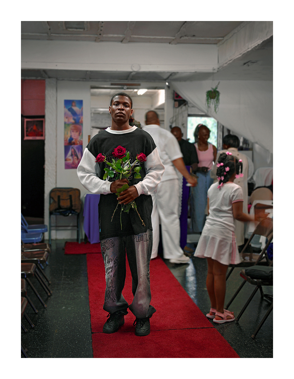 Young Man Holding Blessed Flowers, Grace Miracle Temple, Chicago 2005