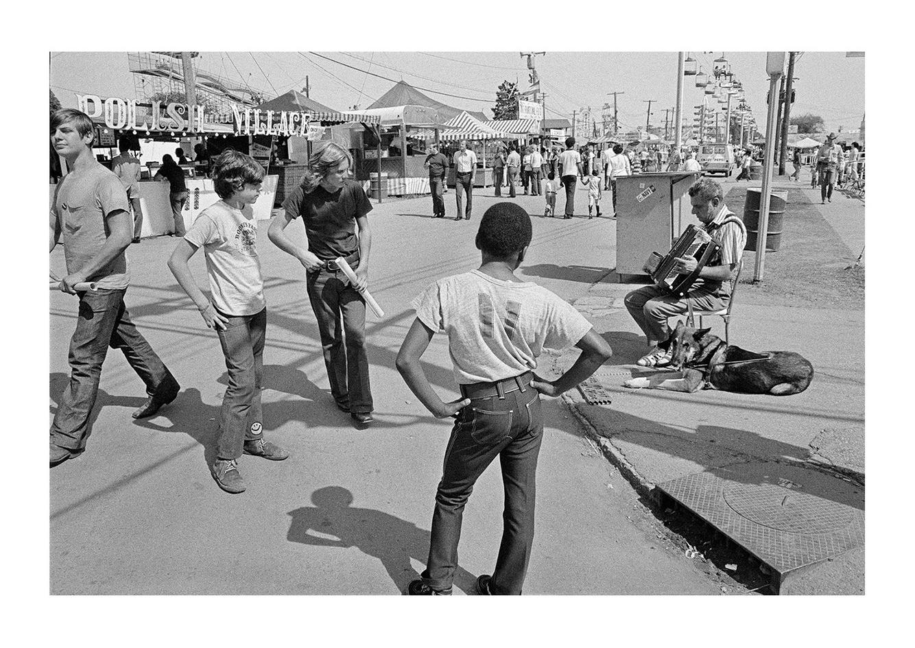 A blind Man Performing While Three Young Boys Look On, Detroit (Michigan State Fairgrounds) 1972