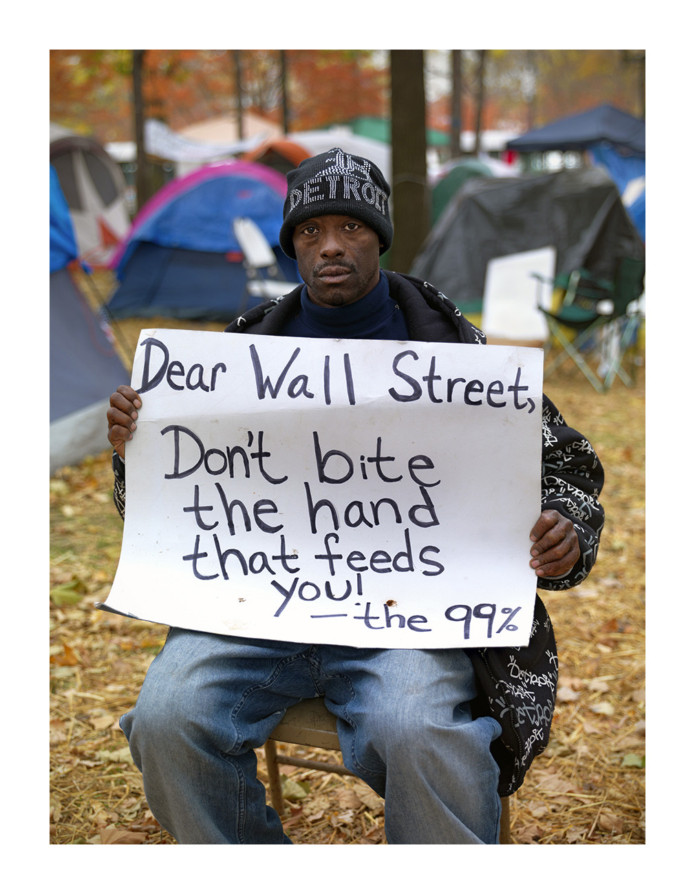 Derrick, Unemployed Protester, Occupy Detroit, Grand Circus Park, Detroit 2011