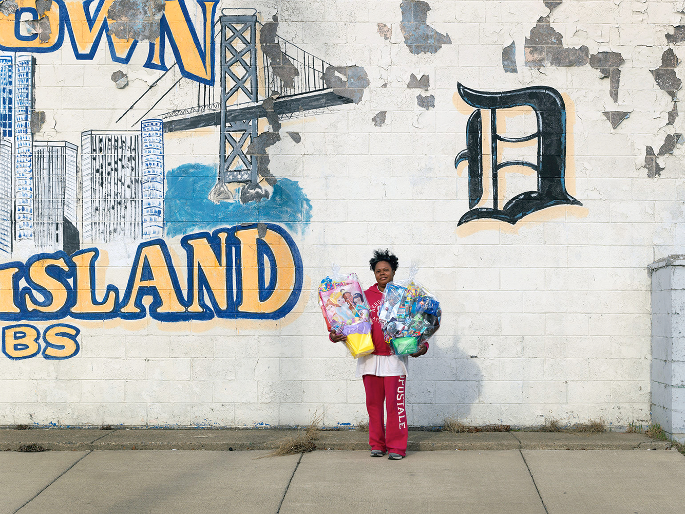 A Woman Selling Easter Baskets on the Corner of Dickerson and Warren Avenue, Eastside, Detroit 2013