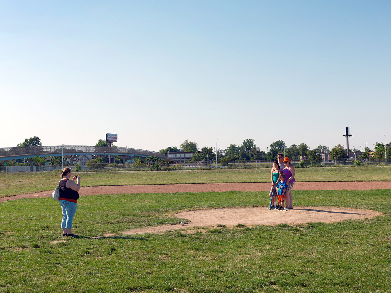 A Family at the Former Location of Tiger Stadium, Corktown, Detroit 2012