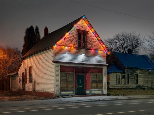 House with Xmas Lights, Eastside, Detroit 2018