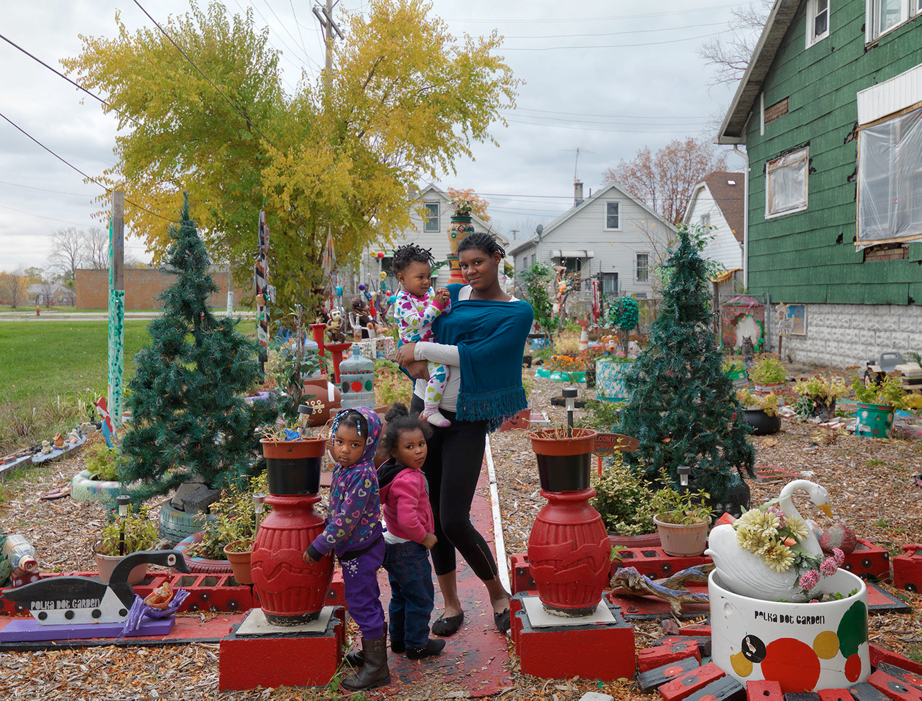 Caprice with Her Nieces in the Polka Dot Garden, Eastside, Detroit 2014