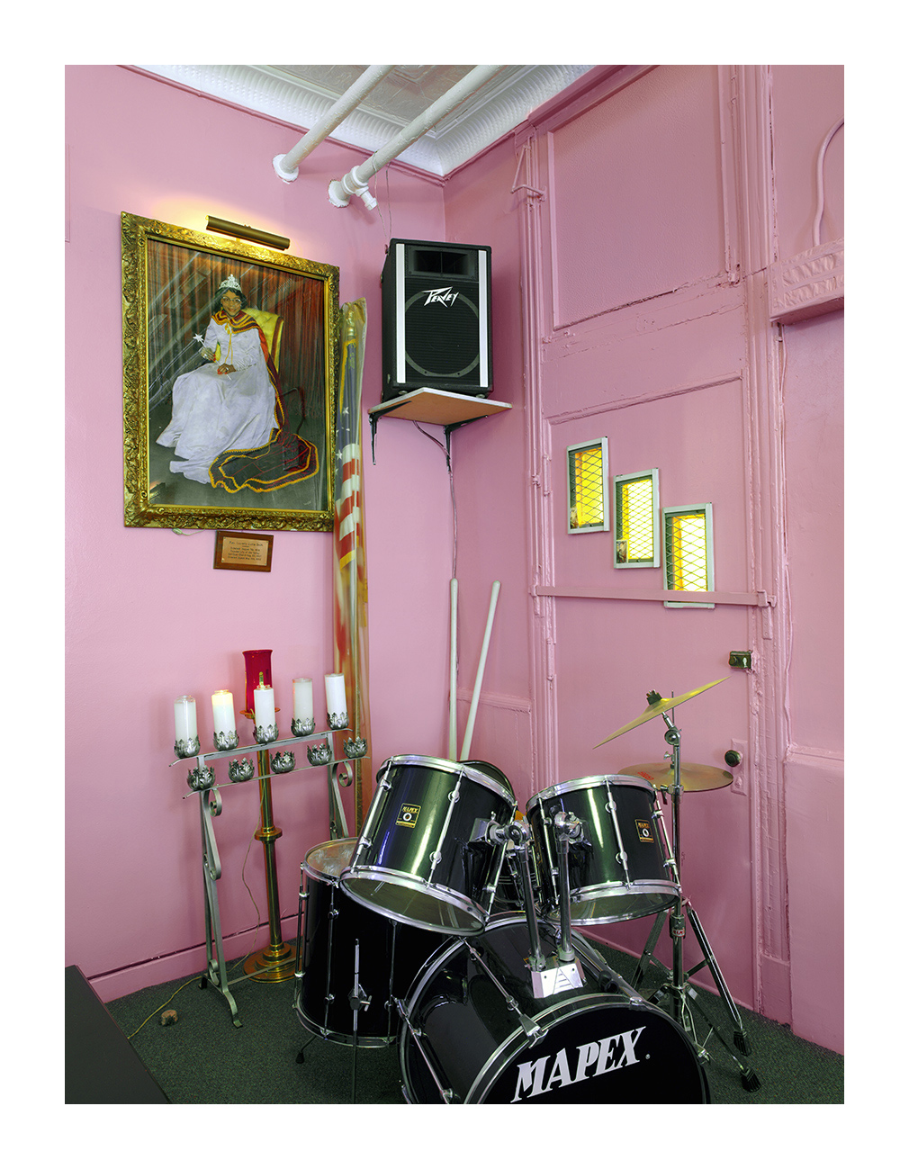 Founder's Portrait and Drum Set, Lily of the Valley Spiritual Church, Chicago 2003