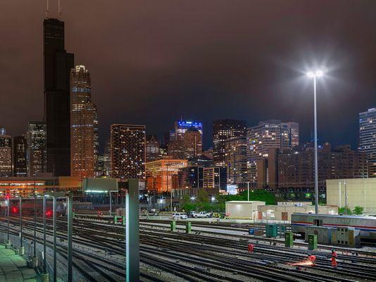 Work Crew and Darkened Willis Tower, Chicago 2020