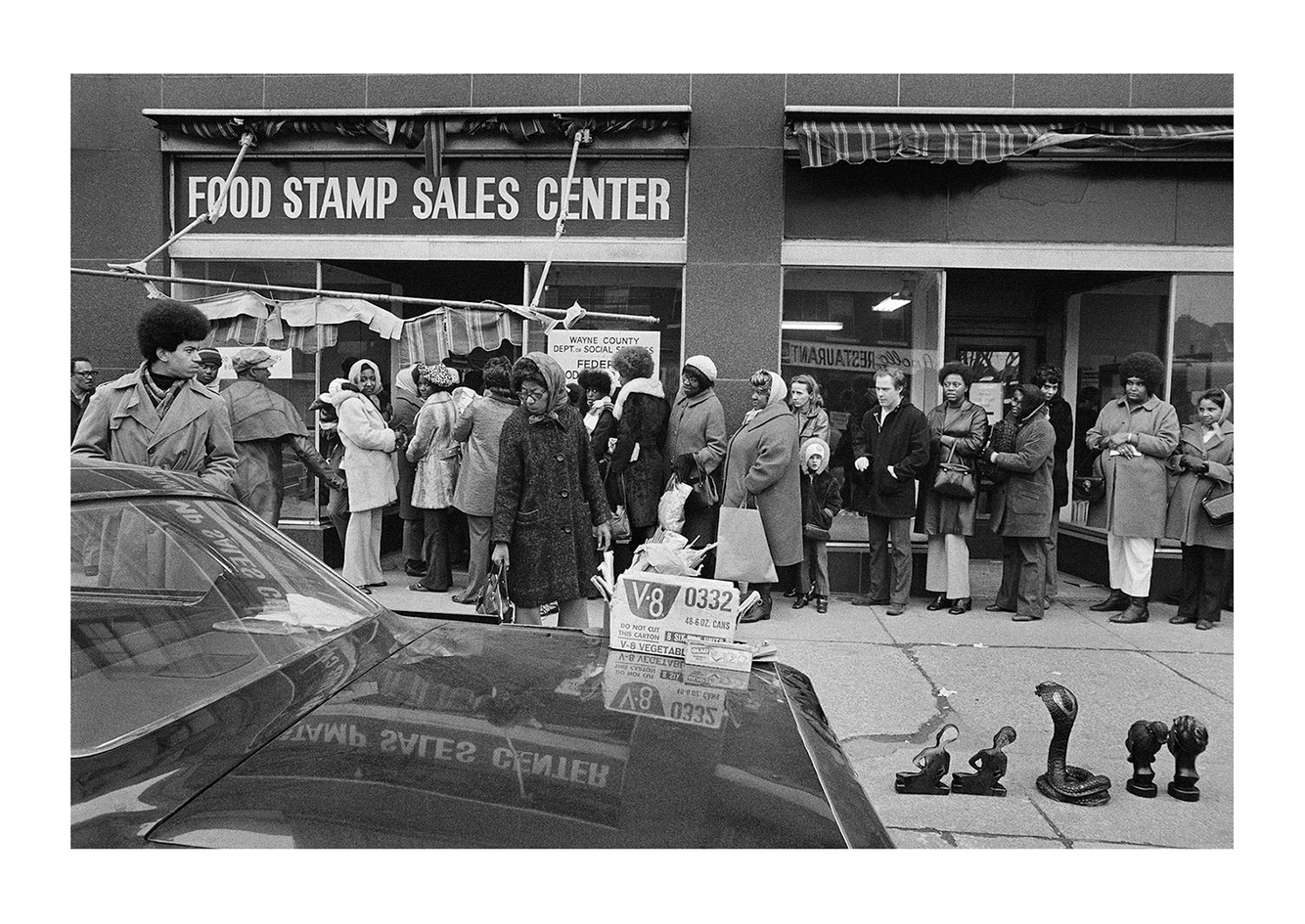 People Waiting in Line for Food Stamps, Detroit 1972