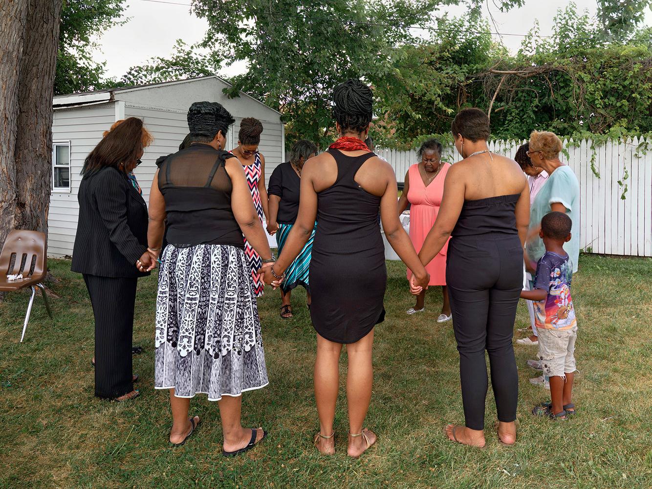 Backyard Prayer Circle After a Funeral, Eastside, Detroit 2015