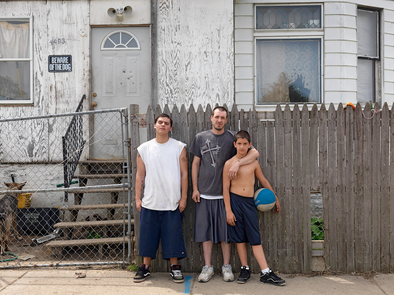 A Father with His Two Sons, 35th Street, Mexicantown, Detroit 2012
