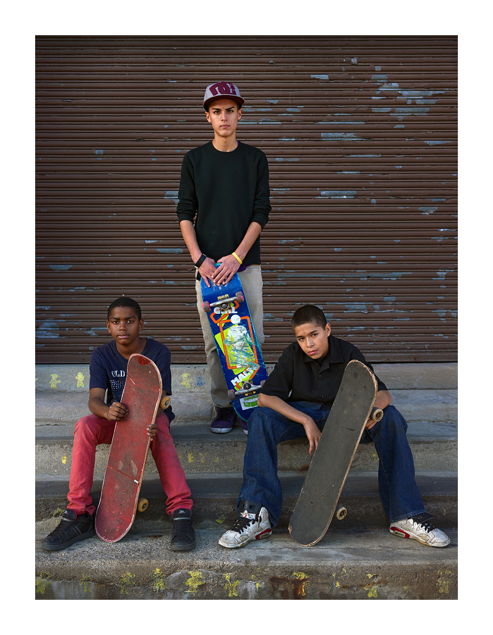 Three Young Men with Skateboards, Junction Street, Mexicantown, Detroit 2011