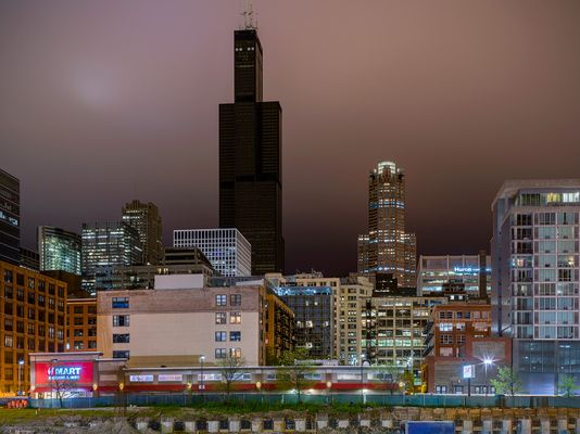 Darkened Willis Tower Without Power, Chicago 2020