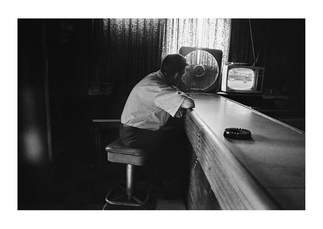 Man Sitting at the Bar Watching a Tiger's Game, Detroit 1972