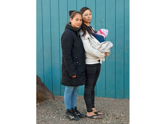 Cousins, Samantha and Stephanie, Iqaluit, Canada 2016