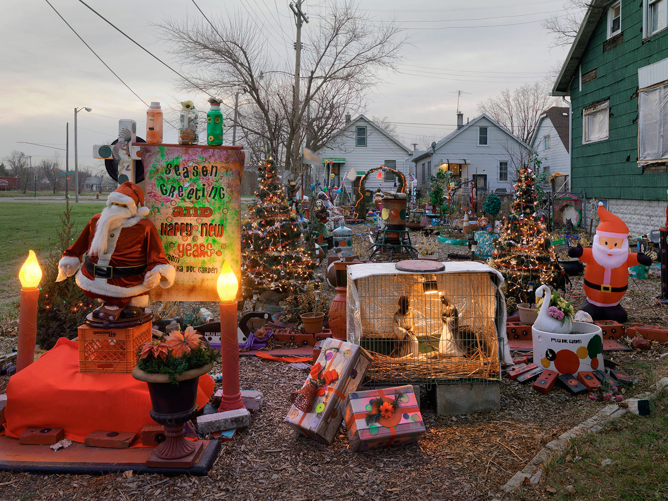 Christmas Decorations, Polka-Dot Garden, Eastside, Detroit 2014