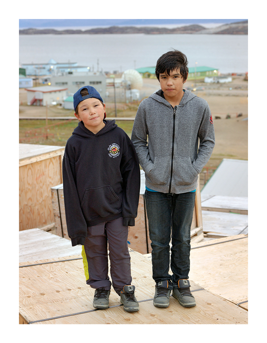 Two Boys Who Were Playing on Shipping Crates, Iqaluit, Canada 2016