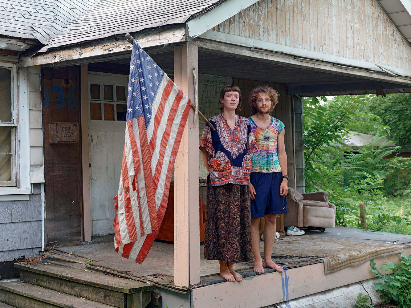 Shad and Sara Standing on the Front Porch of the Little House, Goldengate Street, Detroit 2013