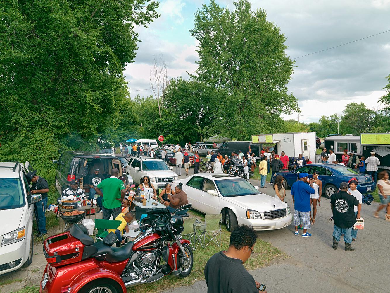 Crowd Gathering, St. Aubin Outdoor Music Festival, Eastside, Detroit 2013